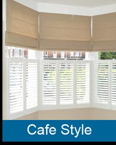 cafe style plantation shutters